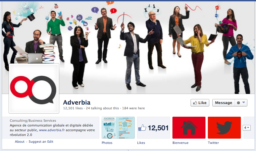 Page Facebook de l'agence Adverbia