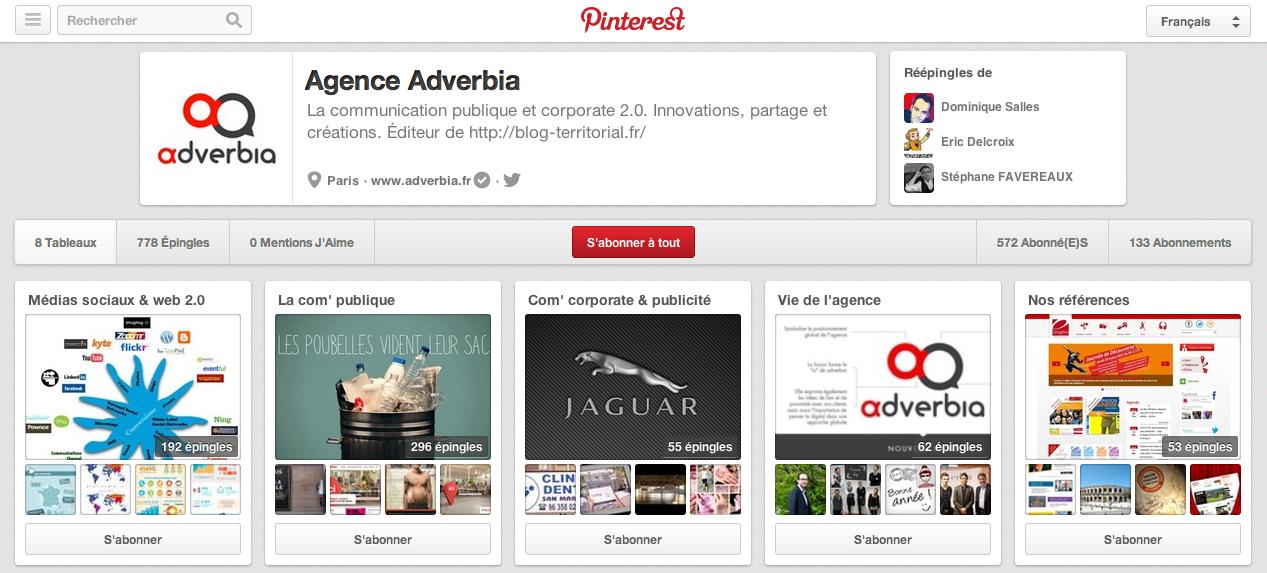 Compte Pinterest de l'agence Adverbia