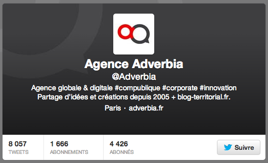 Compte Twitter de l'agence Adverbia