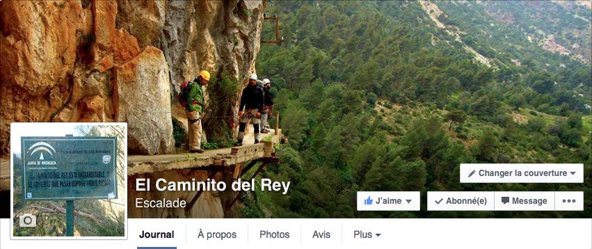 Page Facebook El Caminito del Rey