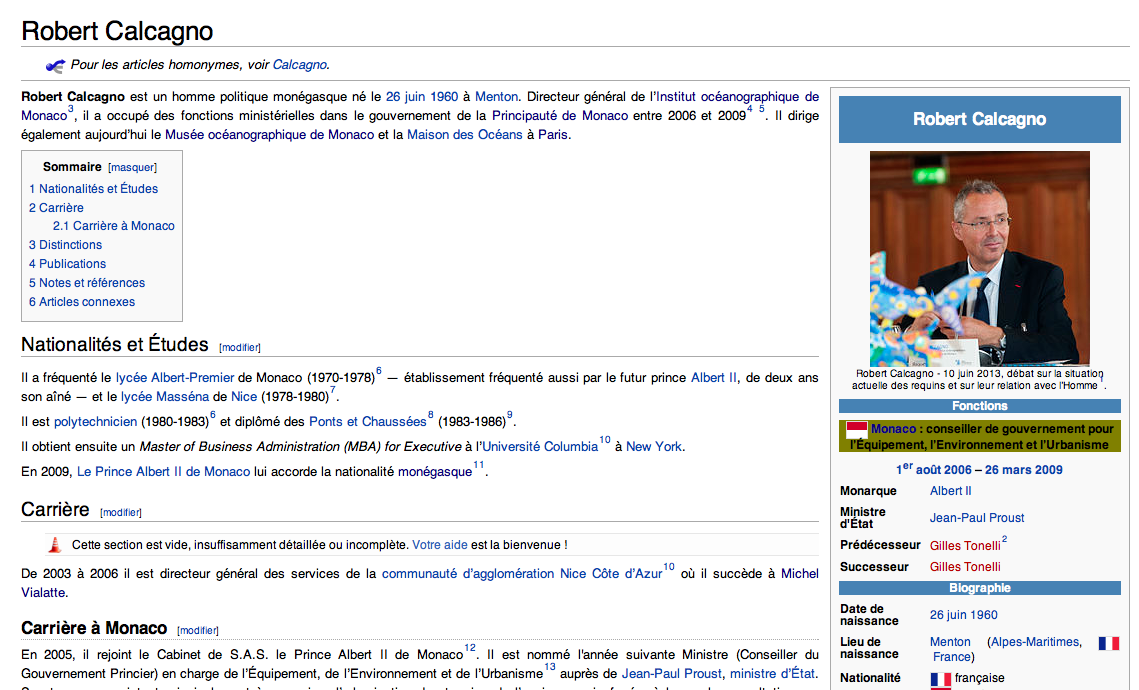 Page Wikipédia de Robert Calcagno