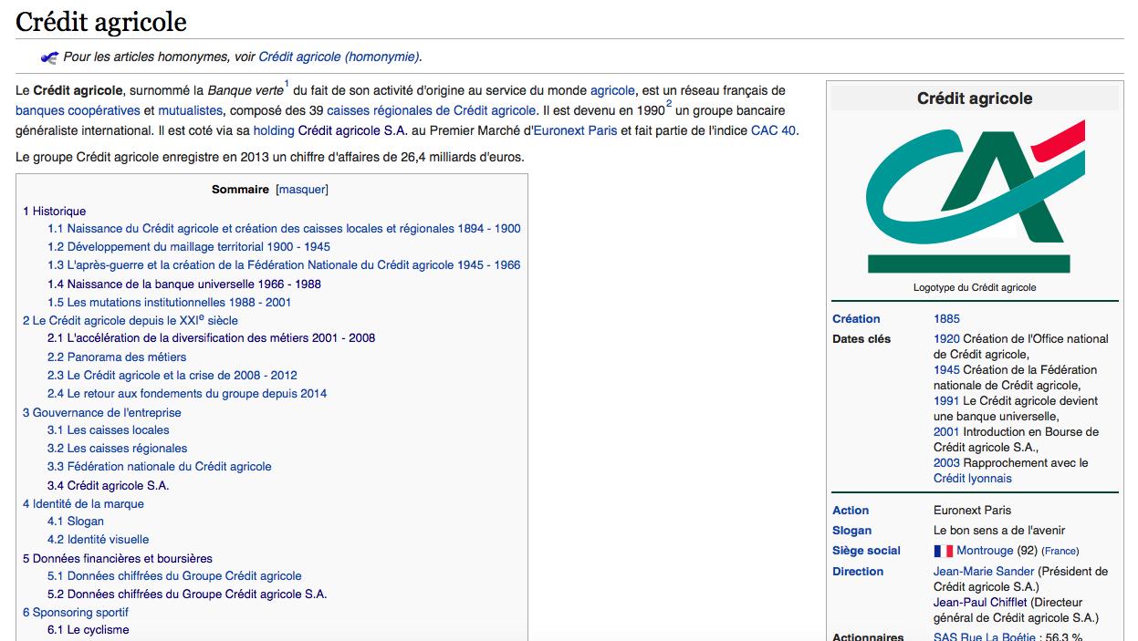 Page Wikipédia du Crédit Agricole